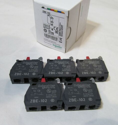 5-PACK NEW SCHNEIDER ELECTRIC ZBE-102 AUXILIARY CONTACT BLOCKS E-STOP A600-Q600