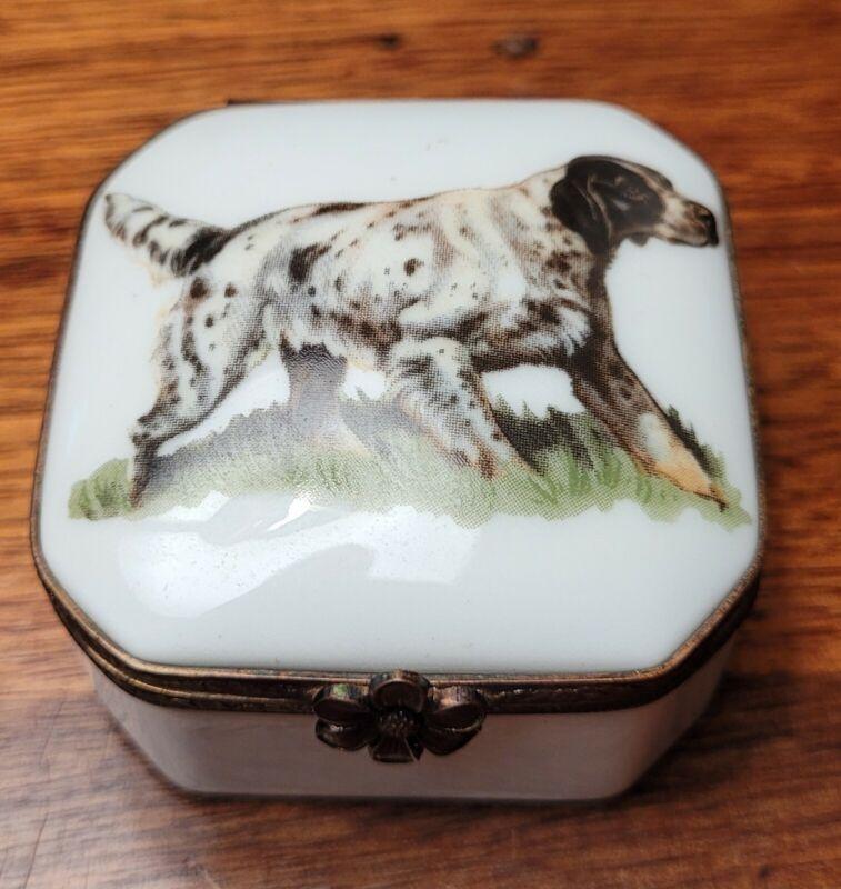 Limoges Hinged Trinket Box with Dog