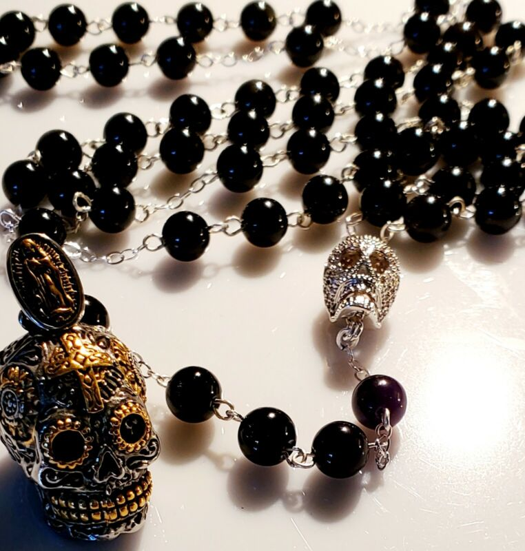 Day of the Dead Sugar Skull Black Obsidian Sterling Silver Men