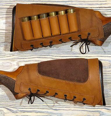 e9f46fa81cb Leather Shotgun Shell Cartridge Buttstock Holder Cheek Rest Padded - 12 ga