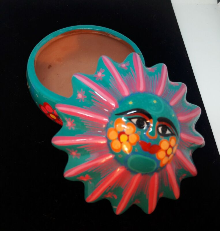 Ceramic Sunshine Whimsical Coloful Trinket Dish. Made In Mexico Signed