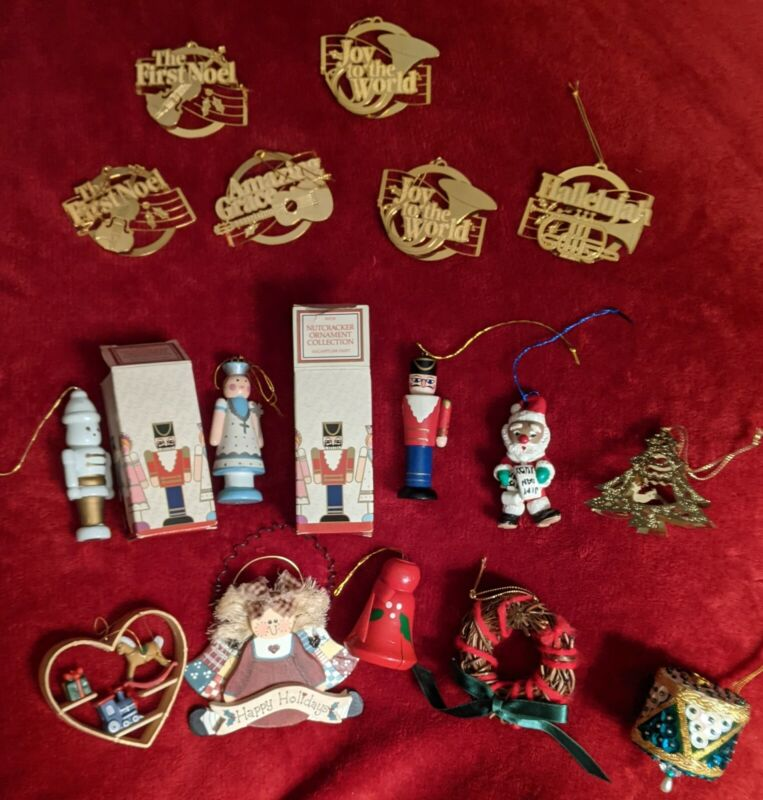 Lot of 16 Vintage Christmas Tree Ornaments Crafts Avon, Hallmark & Misc.