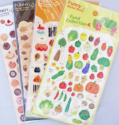 Funny Sticker World Food Collection Puffy Sticker Sheet (Your Choice of Design)