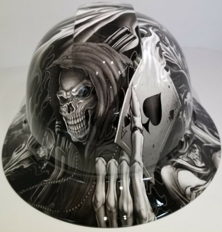 FULL BRIM Hard Hat custom hydro dipped , NEW Black and white ACE OF SKULLS