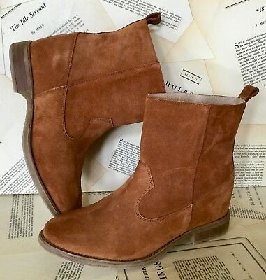 Anthropologie Ankle Boots Suede Pull On brown Molded Sole 38 /7.5-8 NEW