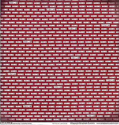 SC - Marines Pride - Red Scrapbooking Paper - 1 sheet - DS - 35558](Red Paper)