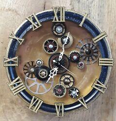 Steampunk Gears Shadow Box Wall Clock-- Industrial- Machine Age- Handmade