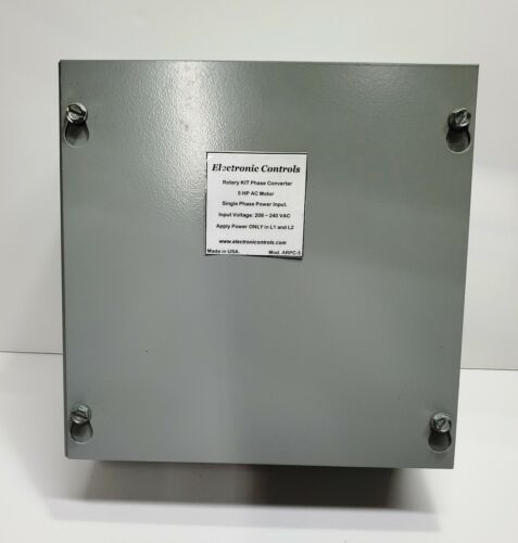 Static Phase Converter to run 4 to 8 HP, 3-phase Motors, 208-240 VAC.