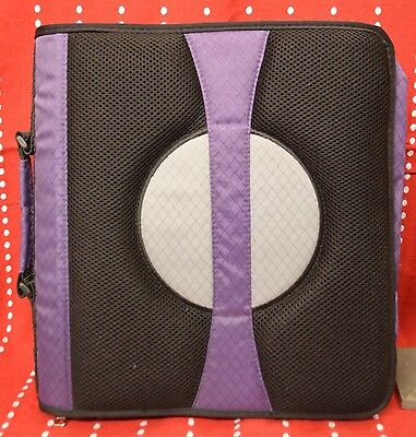 Staples Case It 2-inch D Ring Zipper Binder Expandable Tab File Purple Black