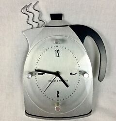 Aluminum Vintage Look Coffee Pot Kitchen Wall Clock Battery Operated Works Well