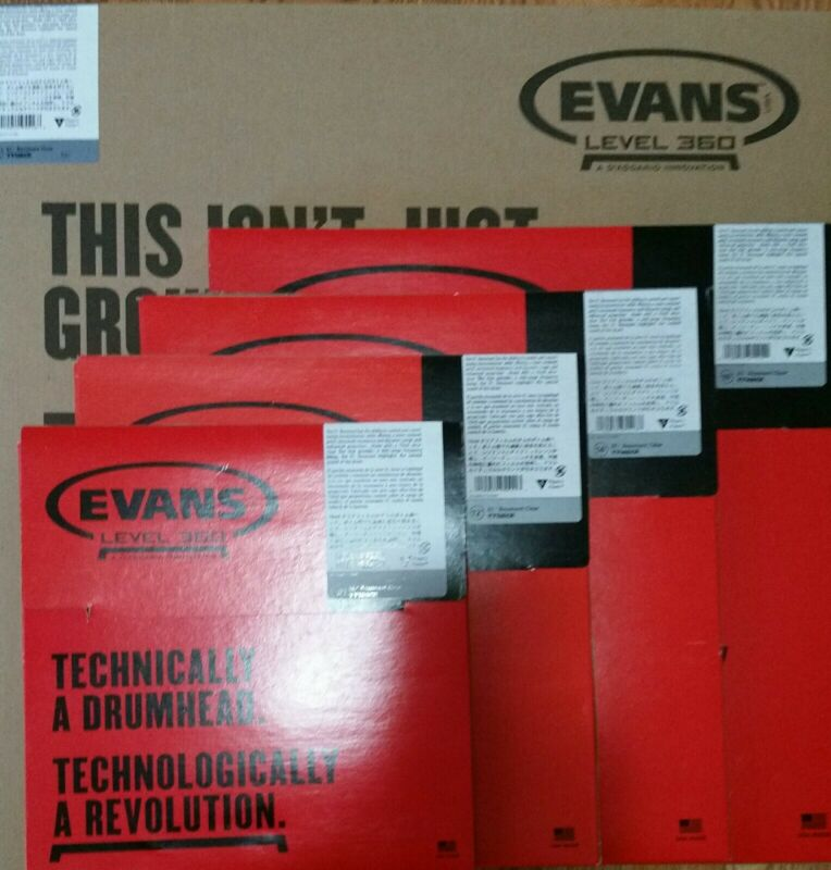 "New Evans EC Reso 5 Pack 10 12 14 16 18 resonant drumhead clear inch 10"" 16"" 18"""