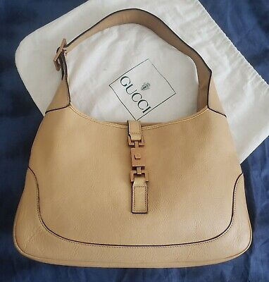 Gucci Beige Leather Jackie O vintage Handbag with dustbag, Made In Italy