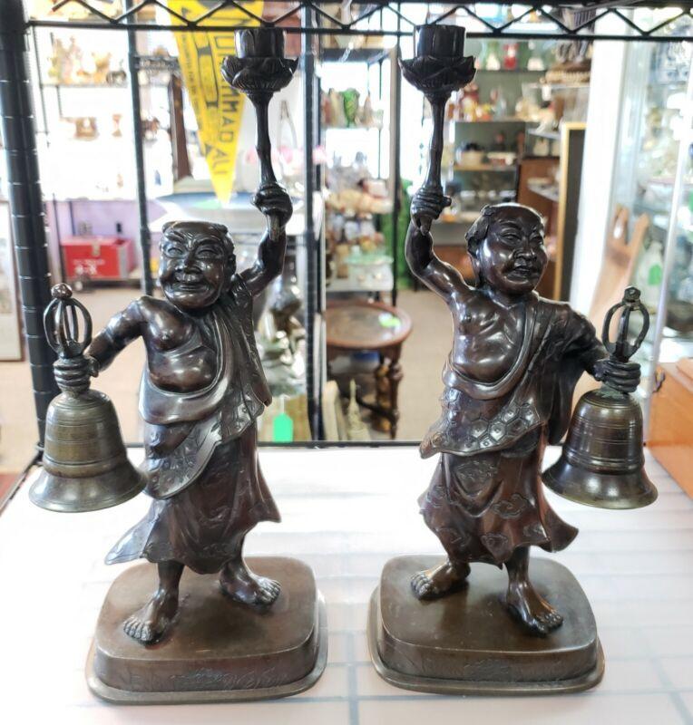Pair of Circa 1880 Japanese Bronze Figural Temple Candlesticks (Meiji Period)