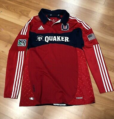 Chicago Fire MLS Adidas Formotion Quaker Jersey Long Sleeve Soccer Mens Size 10 Fire Long Sleeve Jersey