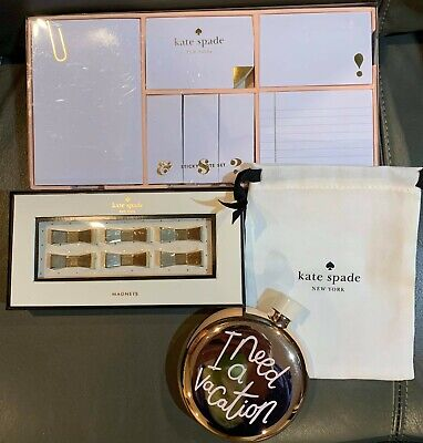 Gorgeous New Kate Spade Lot Strike Gold Note Set Flask Bow Lovely Magnets
