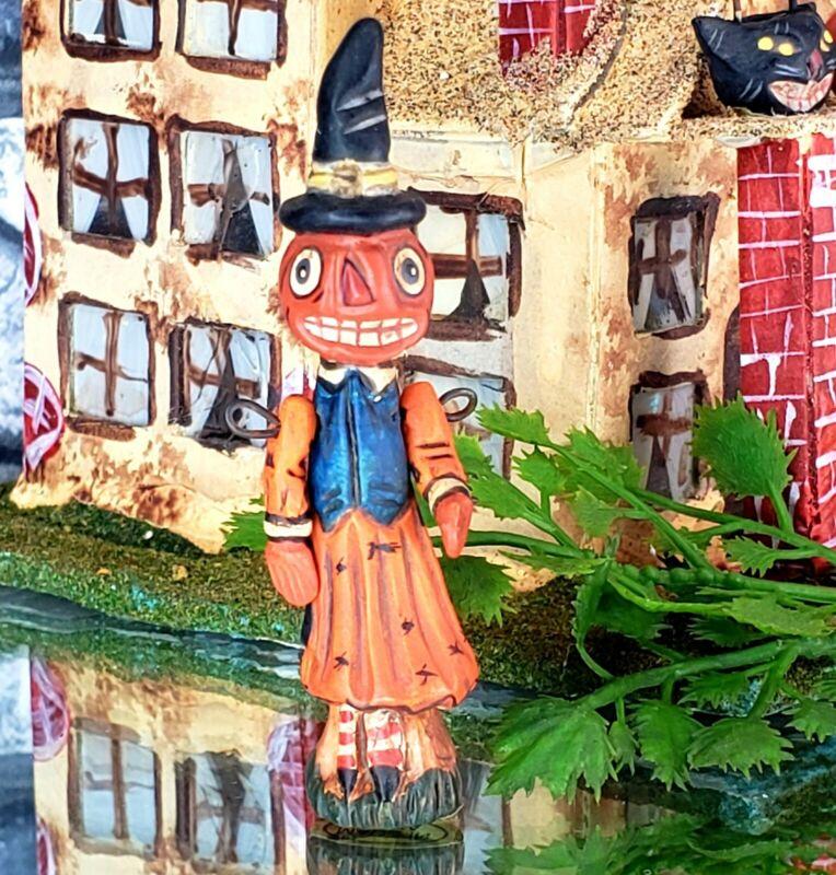 "Vintage Poliwoggs ""NESSY"" Witch Pumpkin Miniature 2.5"" HALLOWEEN Primitive *NOS"