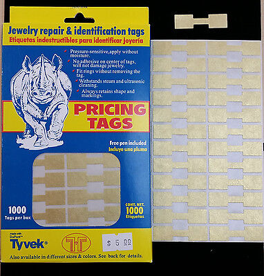 1000 Pcs Gold Price Sticker Tags Jewelry Square Barbell Label Tags