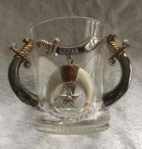 Antique 1905 New Orleans Masonic Shriner 3 handled glass