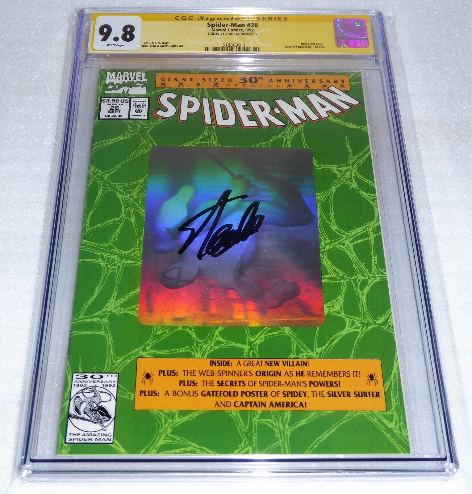 Spider-Man #26 CGC SS Signature Autograph STAN LEE 9.8 Hologram Cover Poster ASM