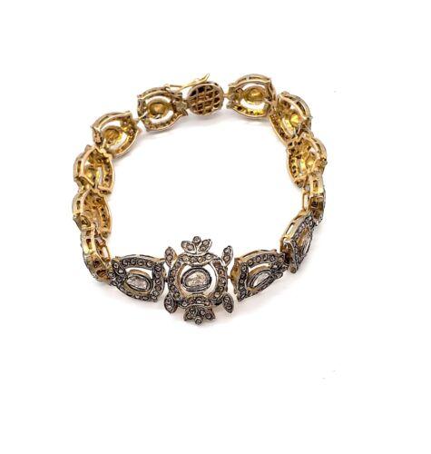 14KT GOLD BRACELET WITH UNCUT DIAMOND POLKI