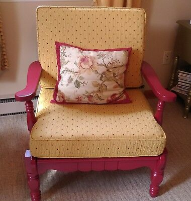 Vintage Red Cottage Style Chair, Refurbished With New Yellow Cushions And Paint