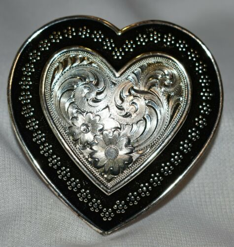 Silver Overlaid Heart Shaped Western Belt Buckle with Heavy Black Border