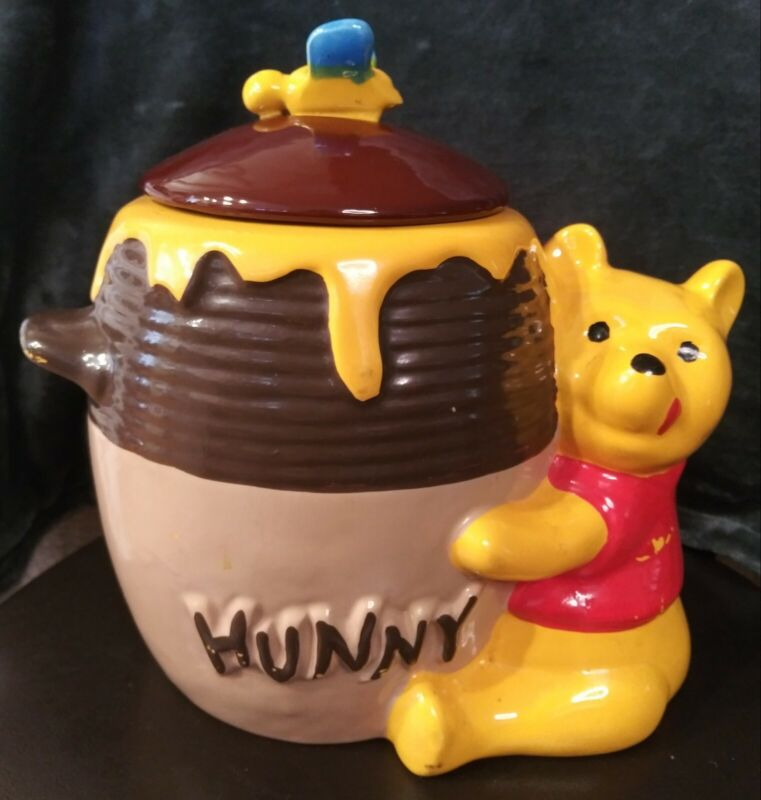 Vintage Winnie the Pooh HUNNY Pot Cookie Jar Marked USA 907 Lid has Honey Bee