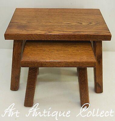Antik Stil Tisch Beistelltisch Eiche 2x Satztische Blumen Telefon Nacht Holz
