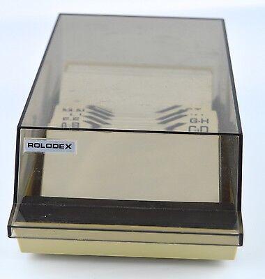 Business Card Rolodex File Desktop Case Organizer Vtg Clear Plastic Lid Sleeves