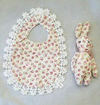 Flower Rose Baby Bib Bunny Lace White Red Print Girl Shower Gift Set 2 Handmade (Rose Burp Cloth Set)