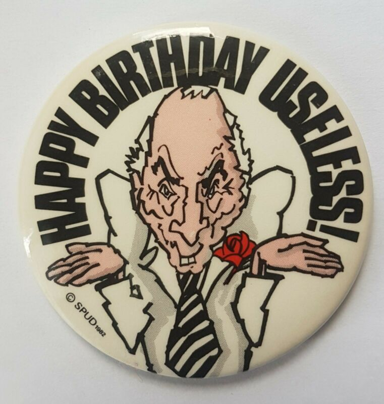 Happy Birthday Useless Button Pin SPUD 1982 Pierre Trudeau Political Caricature