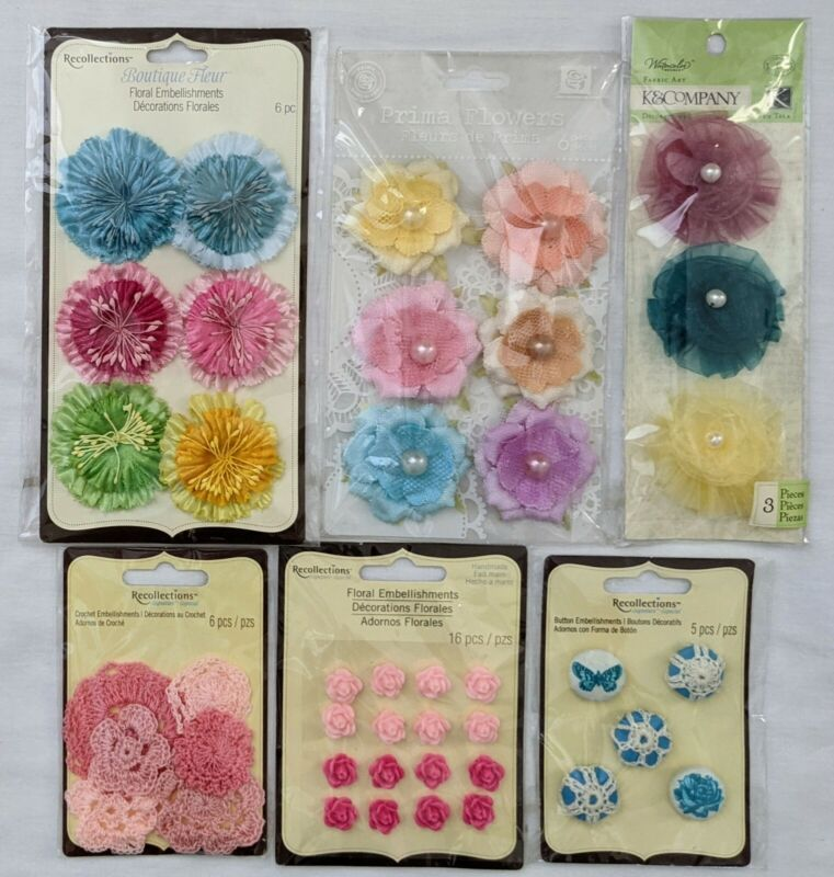Flowers Floral Scrapbooking Embellishments Recollections Prima K&Co Lot of 6