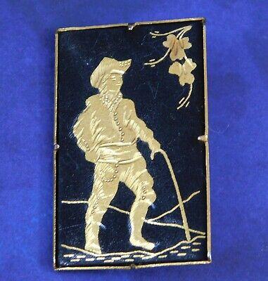 Spanish Explorer Costume (Vintage Damascene Brooch Pin Spanish Settler Explorer Trombone Clasp Rare)