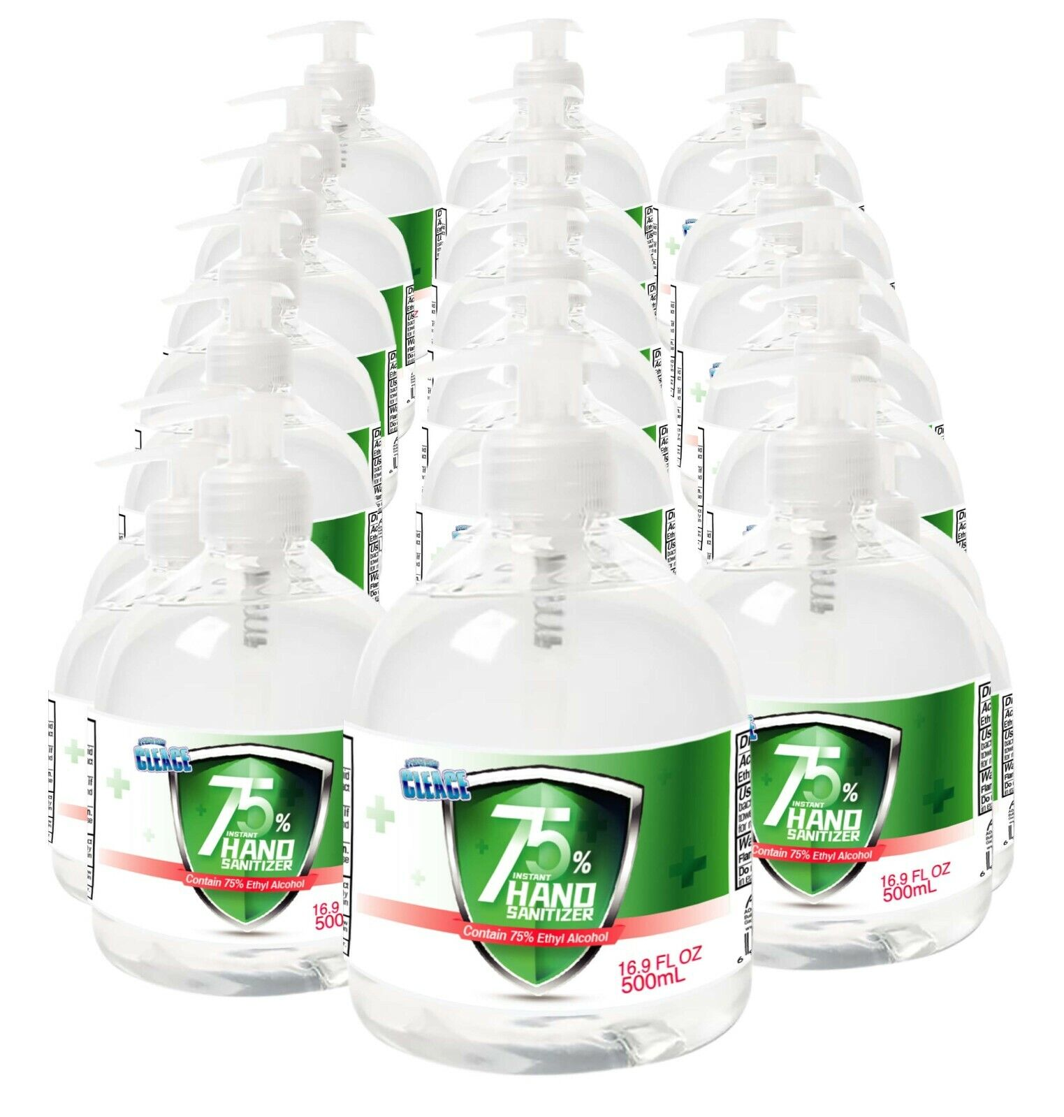 [24-PACK] Cleace Advanced 75% Alcohol Hand Sanitizer Gel, Large 16.9 Fl. Oz x 24 Hand Sanitizers