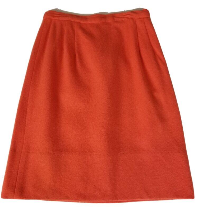 """VTG 70s Girls Junior Skirt Orange Wool? 22""""W x 19""""L Pleated Unbranded Button Zip"""