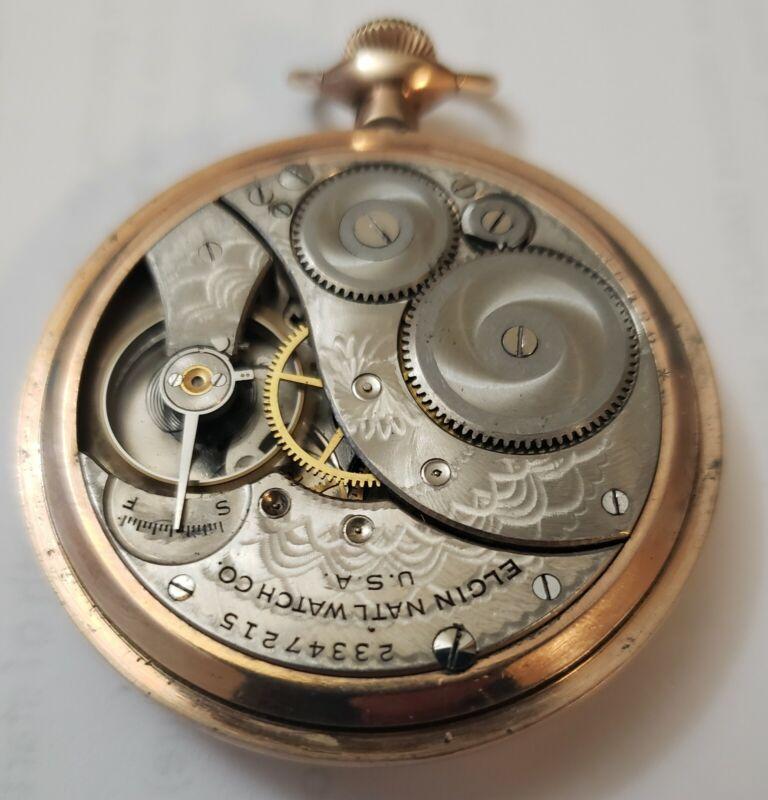 Elgin OF 12s YGF case fancy damascene pocket watch -pcai 7 12420