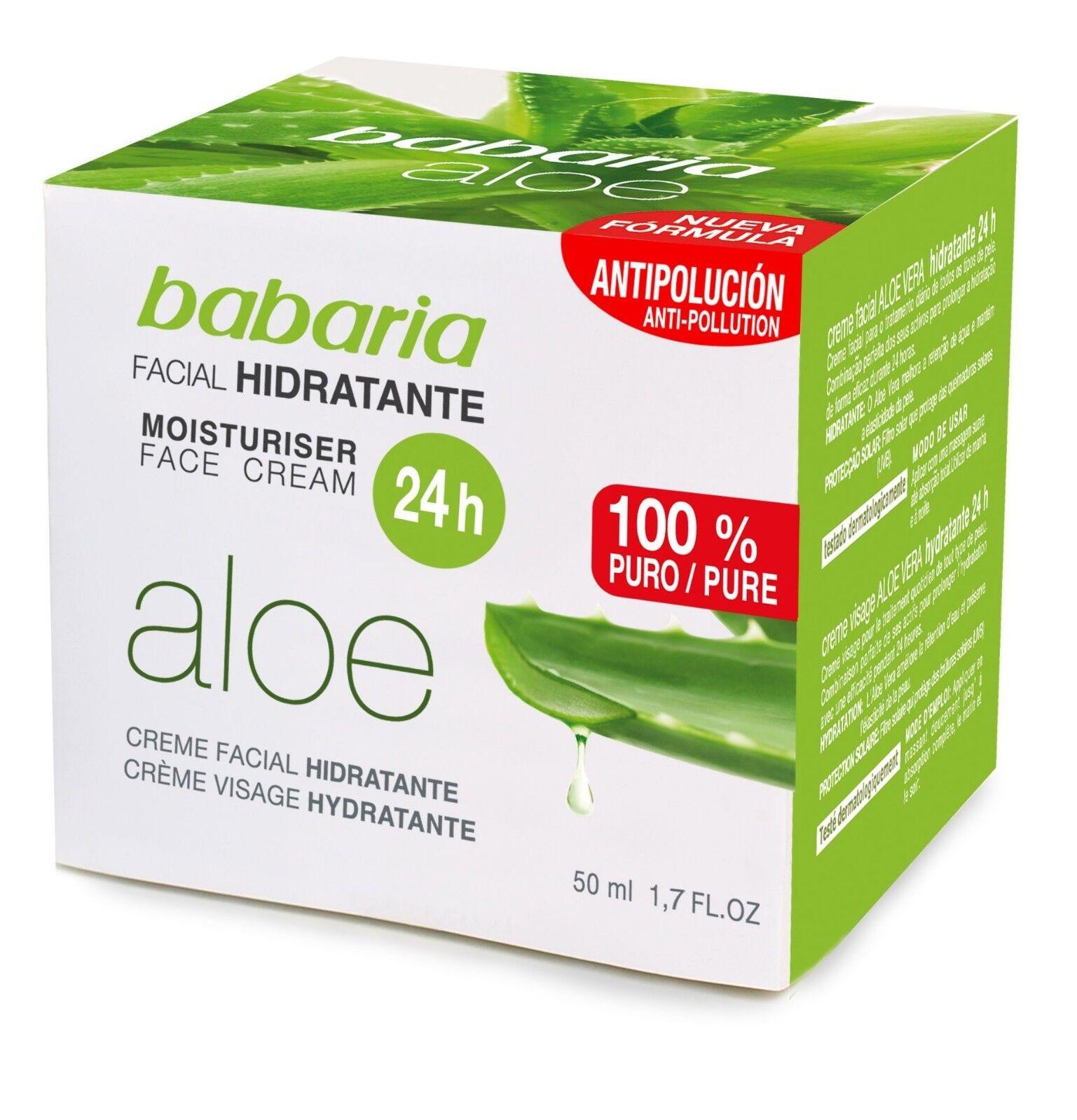 babaria Aloe Vera 24h Gesichtscreme und Feuchtigkeitscreme 50ml 100% reine Aloe