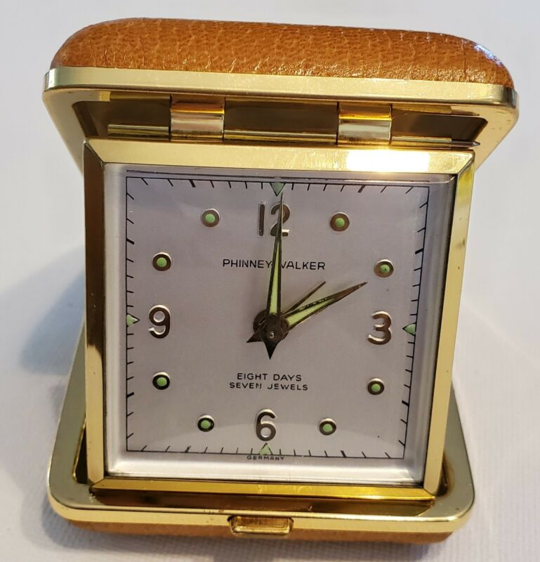 Phinney Walker Foldable Travel Leather Case Alarm Clock Germany Glows I