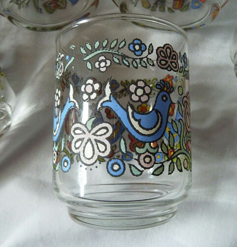 4 BLUEBIRD DESIGN  PENN DUTCH FARMHOUSE VINTAGE LIBBY 6 oz JUICE GLASSES