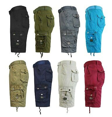 Mens Flat Front Cargo Shorts Lounge Casual Pockets Belt Comfortable Sizes 30-48
