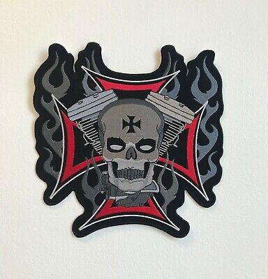 Motocicletas Rider Skull Flame Grande Motociclista Chaqueta Espalda Coser Parche