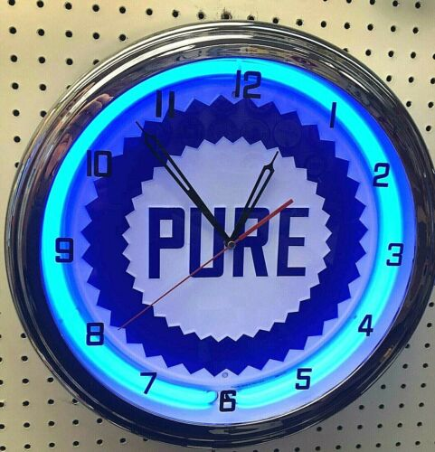 """16"""" PURE Gasoline Motor Oil Gas Station Sign Neon Clock"""