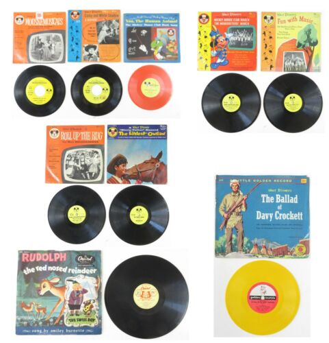 1950s WALT DISNEY PRODUCTIONS 7 OFFICIAL MICKEY MOUSE CLUB RECORDS MOST wJACKETS