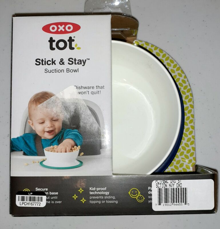 NEW! Stick & Stay Suction Bowl New Toddler Snack. NAVY