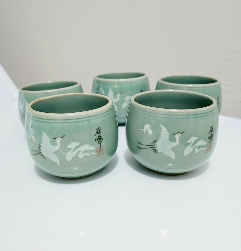 Celadon Crane Teacups 5 Oz Set Of 5 Korean
