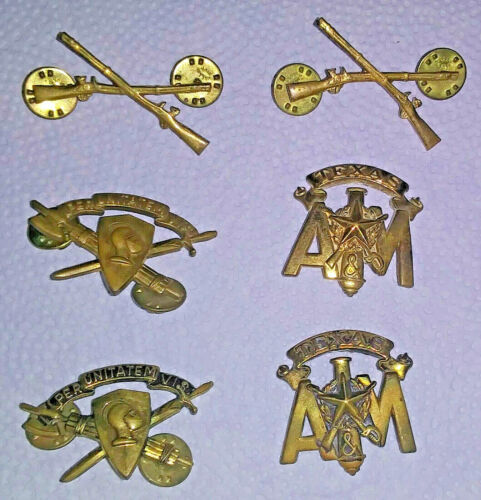 Lot of 6 Vintage 1960s Texas A&M College ROTC Lapel Pins