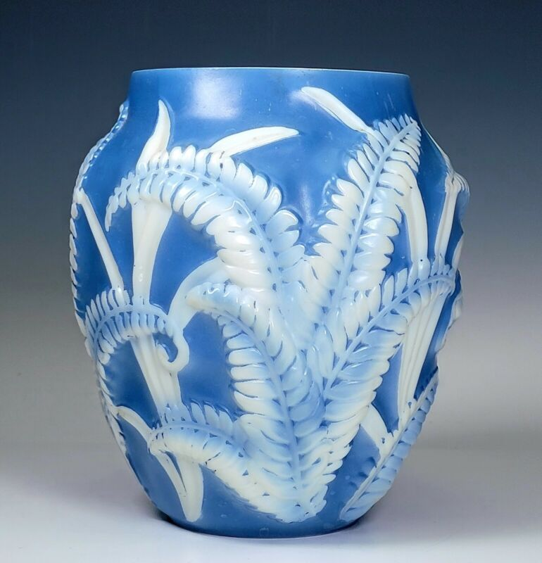 "Phoenix Art Glass Fern 7"" Tall Vase Iridescent  Consolidated Blue White 1930s"
