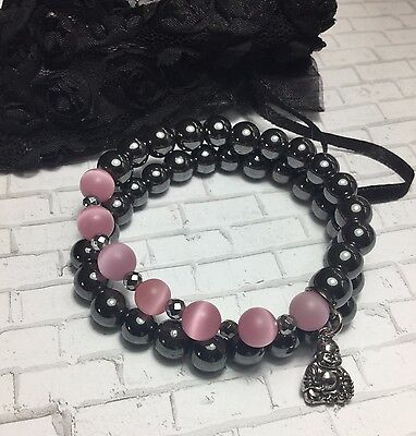 Handmade Hematite Gemstone Set Pink Cats Eye Bracelets W/Buddha Charm USA Cat Eye Hematite Bracelet