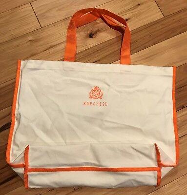 Borghese Borghese Spa (Borghese ~ Spa Indulgence Fabric Open Tote Shopping BAG ONLY Ivory/Orange LARGE)
