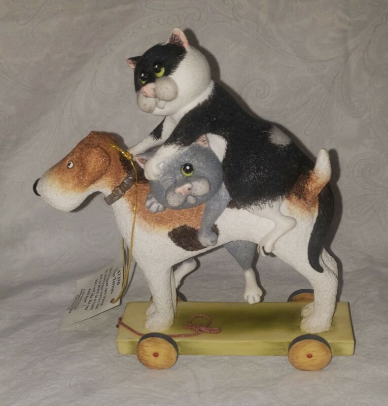 Comic and Curious Cats Two Terrors Terrier on Skateboard w/two Cats